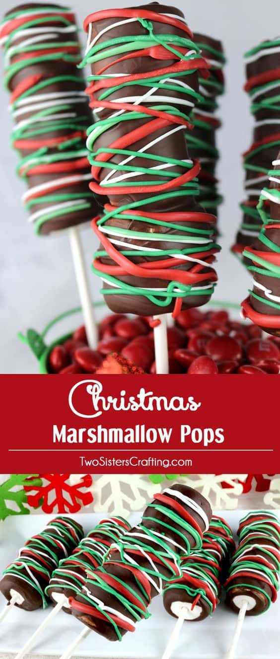 Christmas Marshmallow Pops - Best Christmas Desserts - Recipes and Christmas Treats to Try this Year! Try these amazing and cute easy Christmas dessert recipes to have a great party for your kids, friends, and family! Cupcakes, cakes, sweet bites, pies, brownies, home-made Christmas popcorn, Christmas cookies and other delights. #christmas #dessertfoodrecipes #xmas #recipes #food #christmasfood