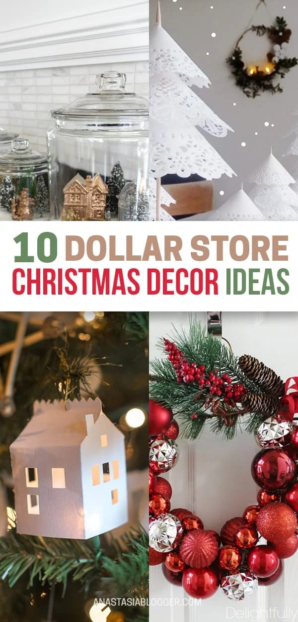 Try these amazing DIY Dollar store Christmas decor ideas! Best dollar store Xmas decorations. Christmas table and tree decorating ideas for you! #christmas #christmasdecor #christmascrafts #diy #homedecor #xmas #decor #decoration