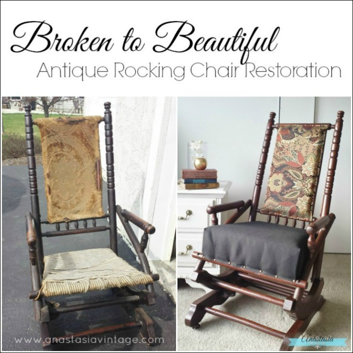antique primitive wooden rocking chair restored gel stain upholstered