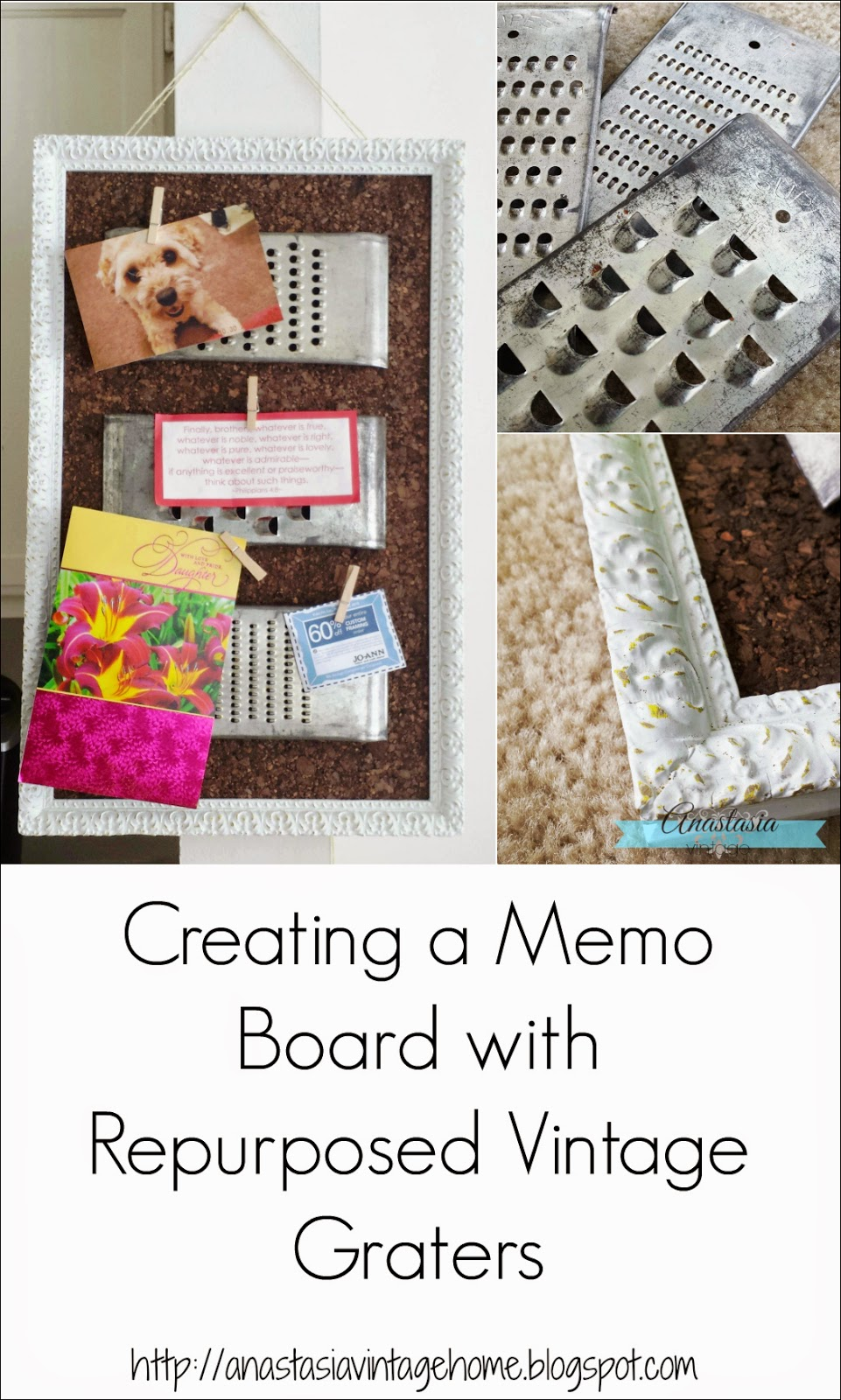 repurposed upcycled vintage grater cork memo board