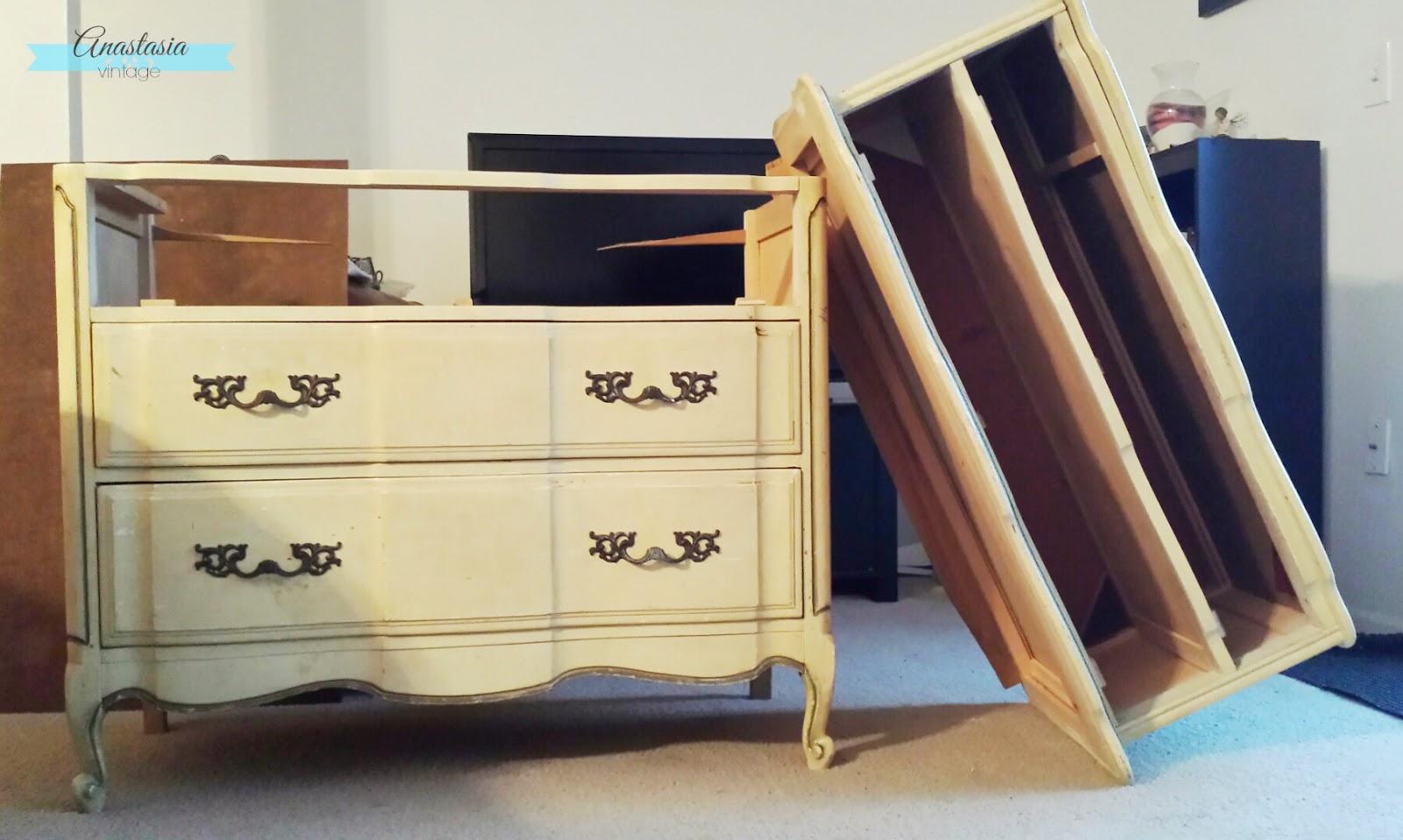 broken french provincial dresser