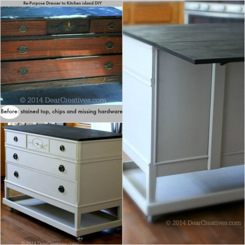 Re_Purposed-Dresser-to-Kitchen-Island_-photo-collage-DIY_DearCreatives.com_