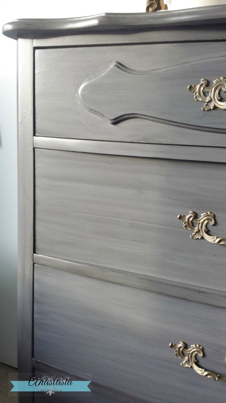 French Provincial dresser in General Finishes Driftwood with Pitch Black Glaze