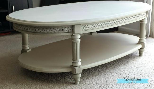 grey beige greige painted oval coffee table glazed carvings