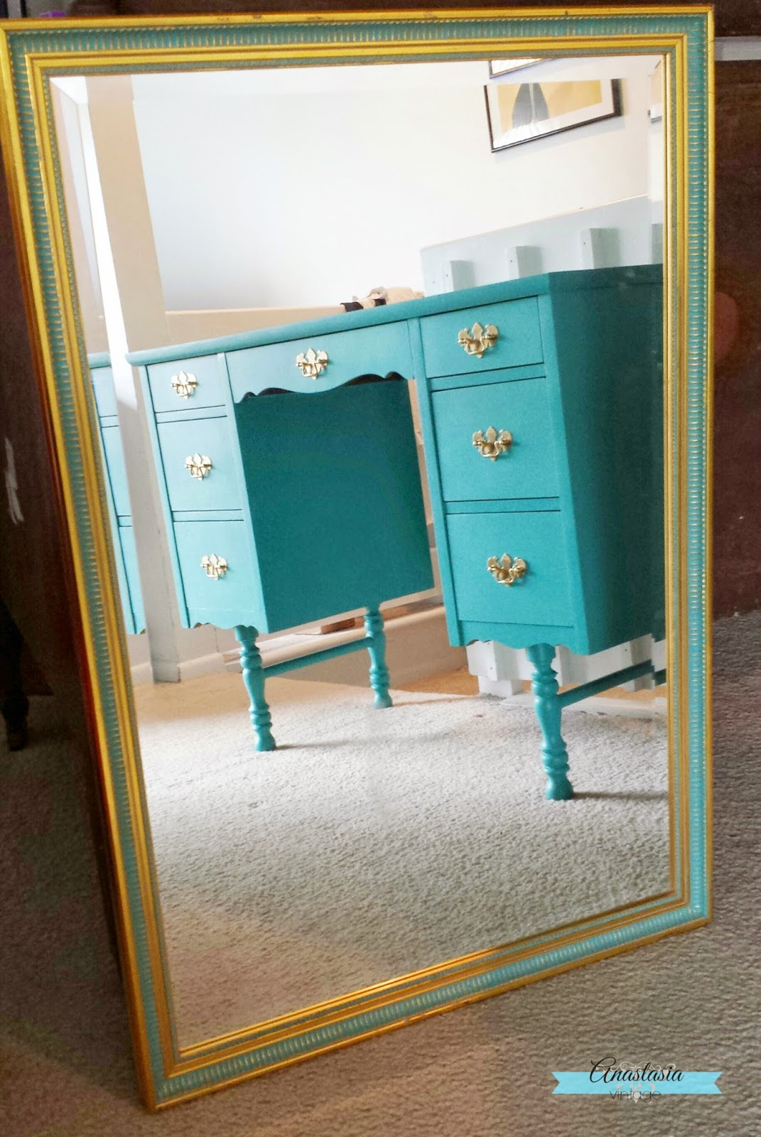 teal & gold mirror