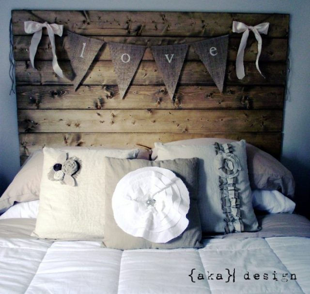 Reclaimed wood look headboard