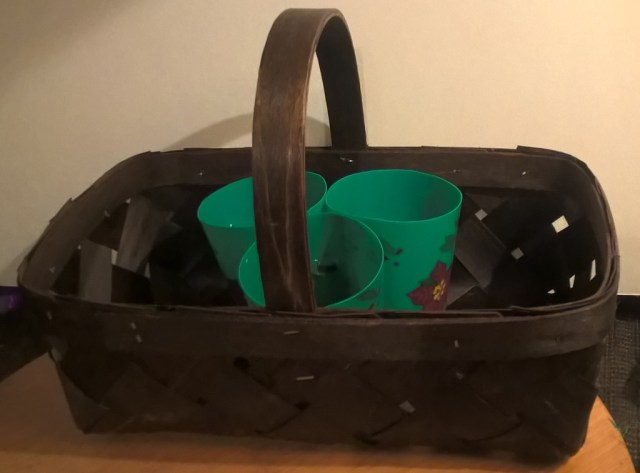 Disposable Gift Basket into an Utensil Caddy