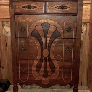 Beautiful Vintage Highboy with Wooden Wheels – $75 find