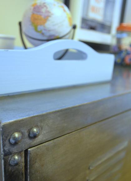 Faux aged steel Ikea cabinet