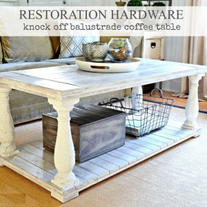 Restoration Hardware knock-off balustrade coffee table
