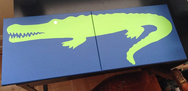 diy alligator painting green layer