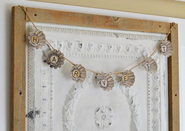 Fall garland made from vintage-tart-tins-and-printable-typewriter-letters.
