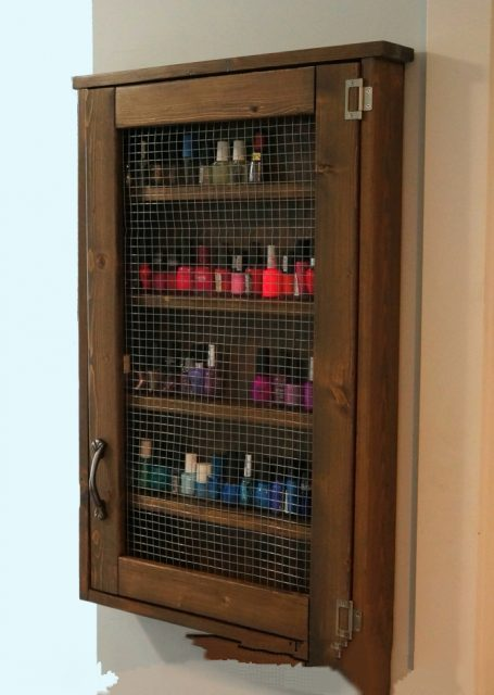 DIY Wall Jewelry Cabinet for nail polish