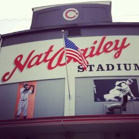 NatBailey Stadium with American flag