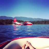 Red boat, red plane