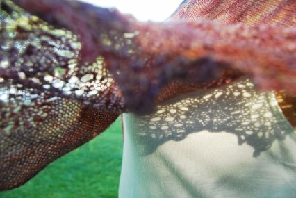 Painted Plumes shawl detail_JahDoily Knits