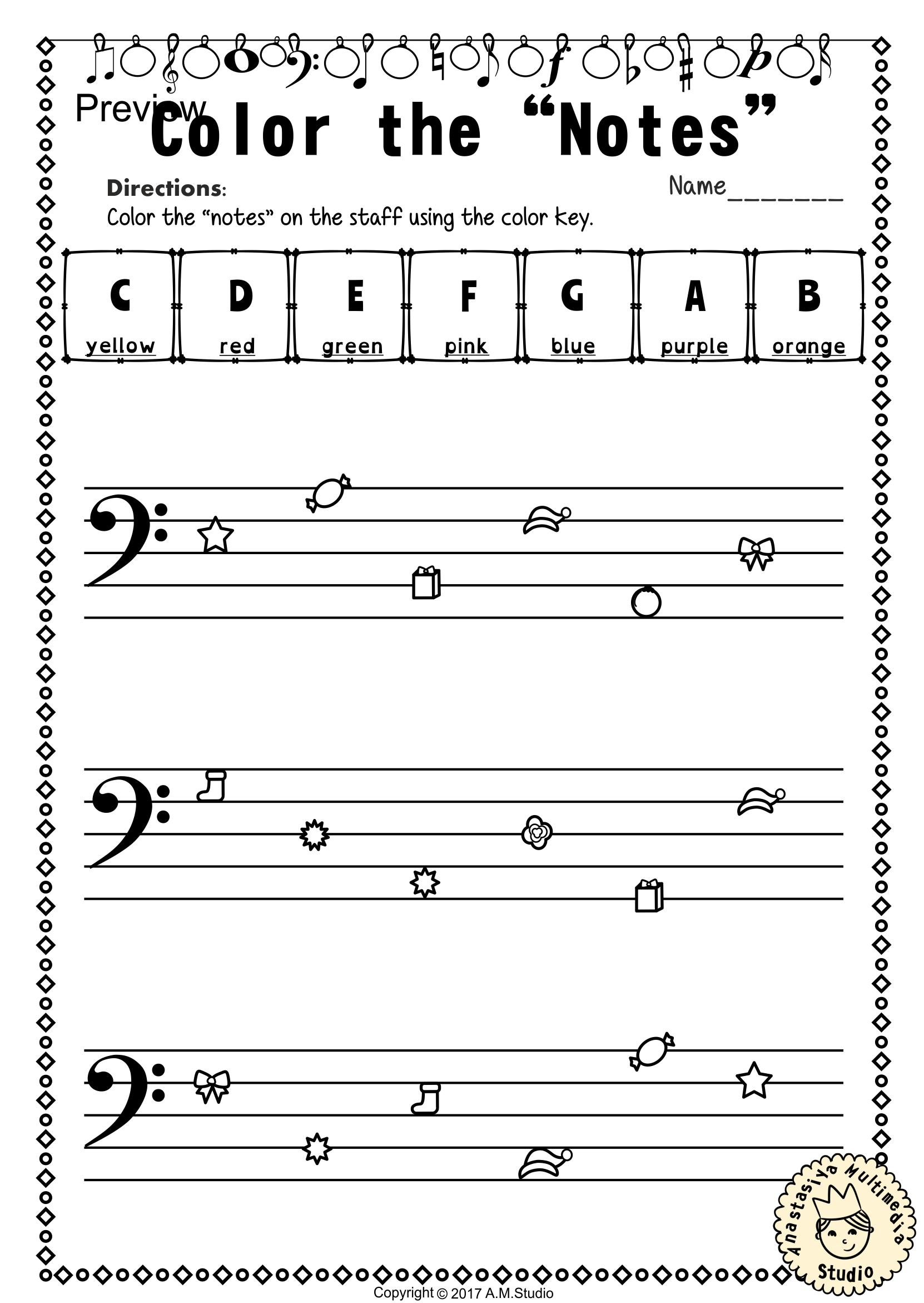 Christmas Bass Clef Note Reading Worksheets10 Anastasiya