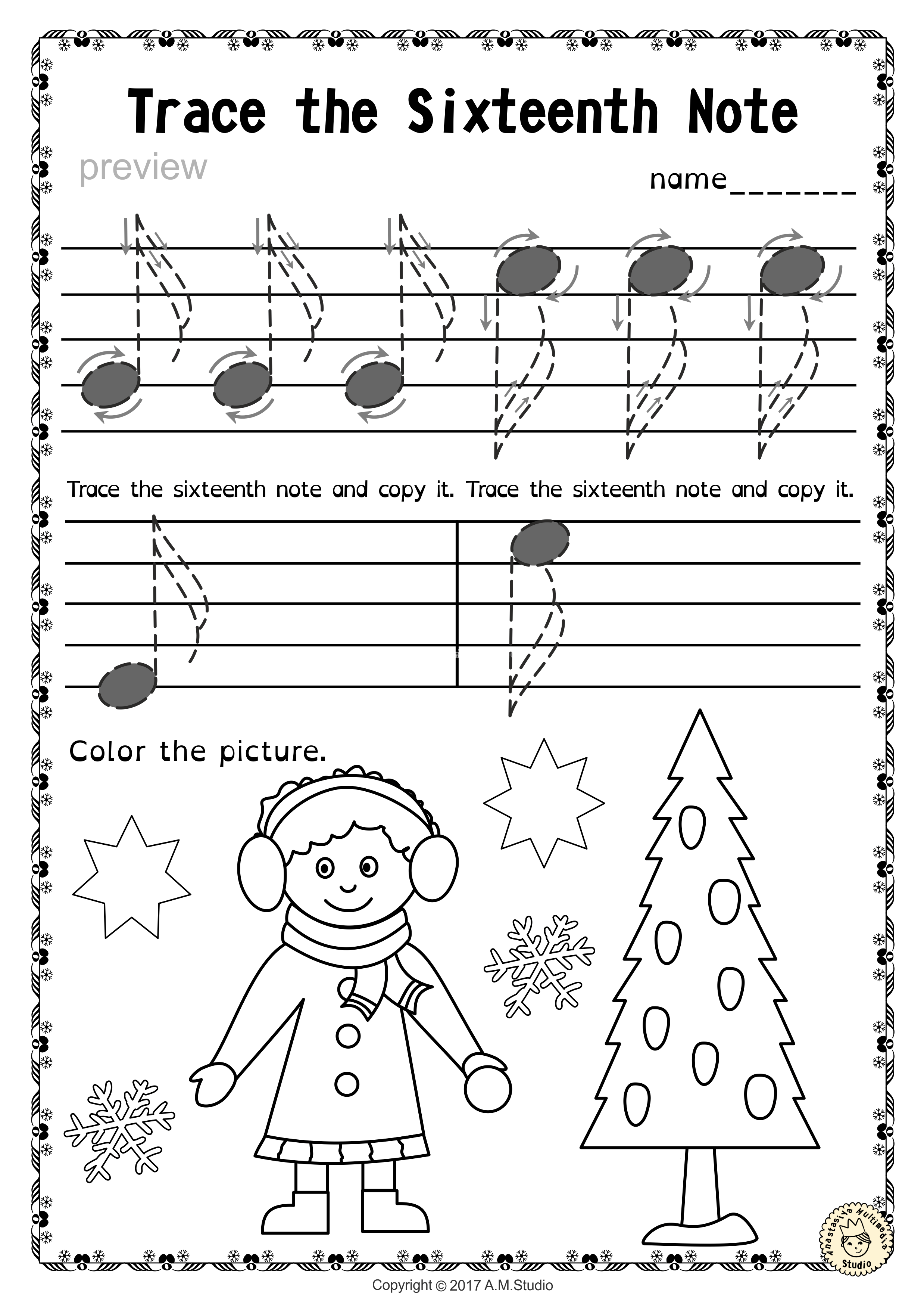 Tracing Music Notes Worksheets For Winter And Christmas9