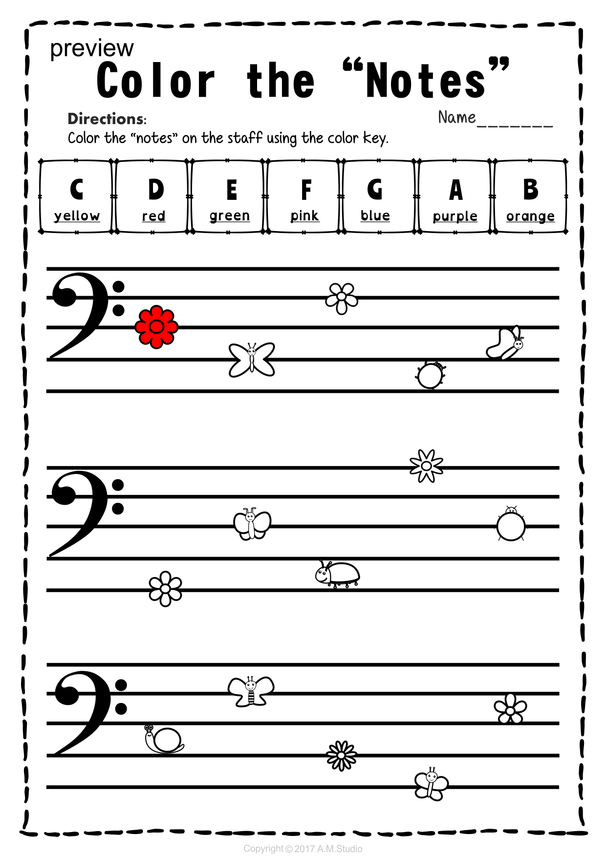 Bass Clef Note Naming Worksheets For Spring8 Anastasiya