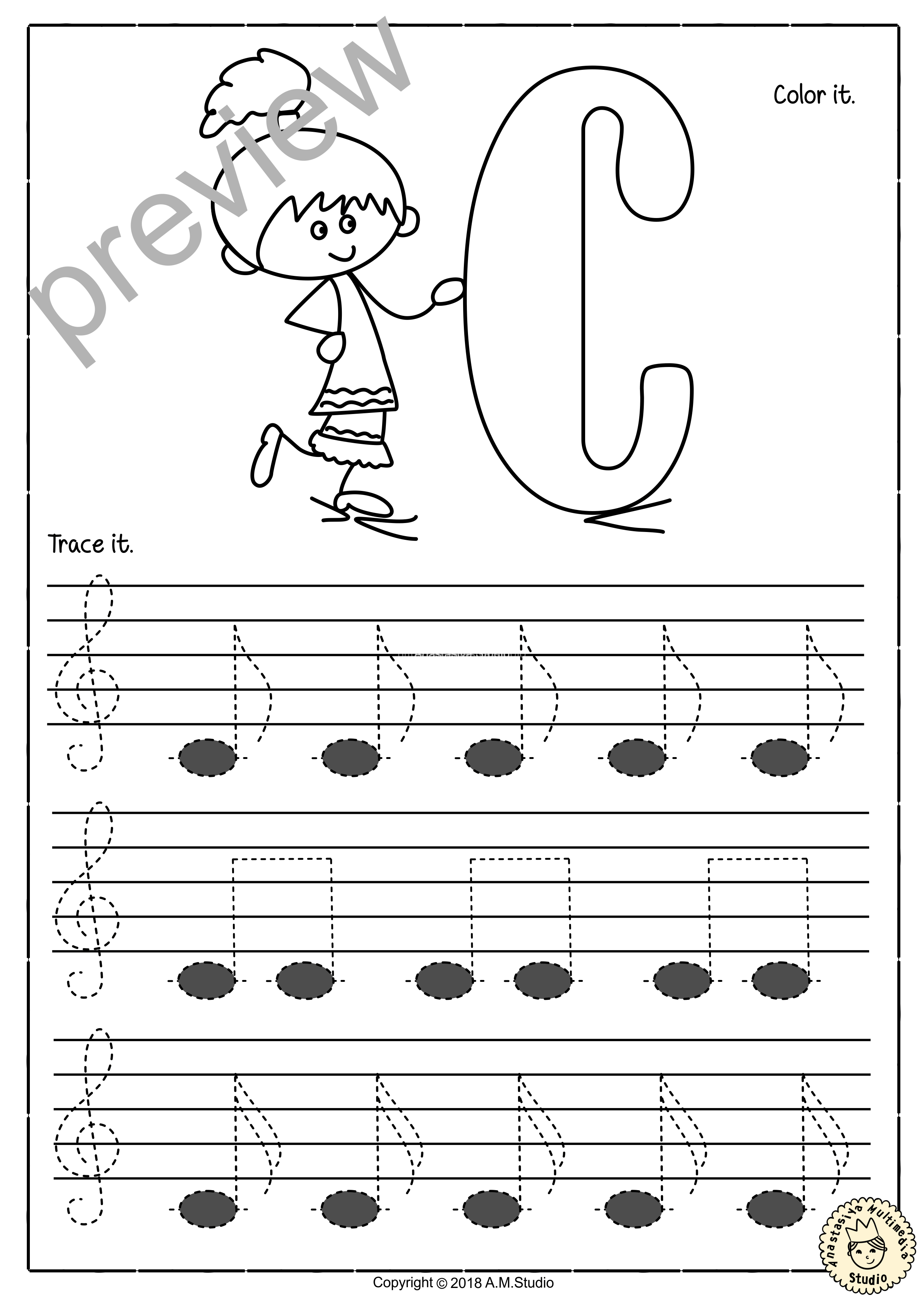 Tracing Music Notes Worksheets For Kids Treble Clef 3