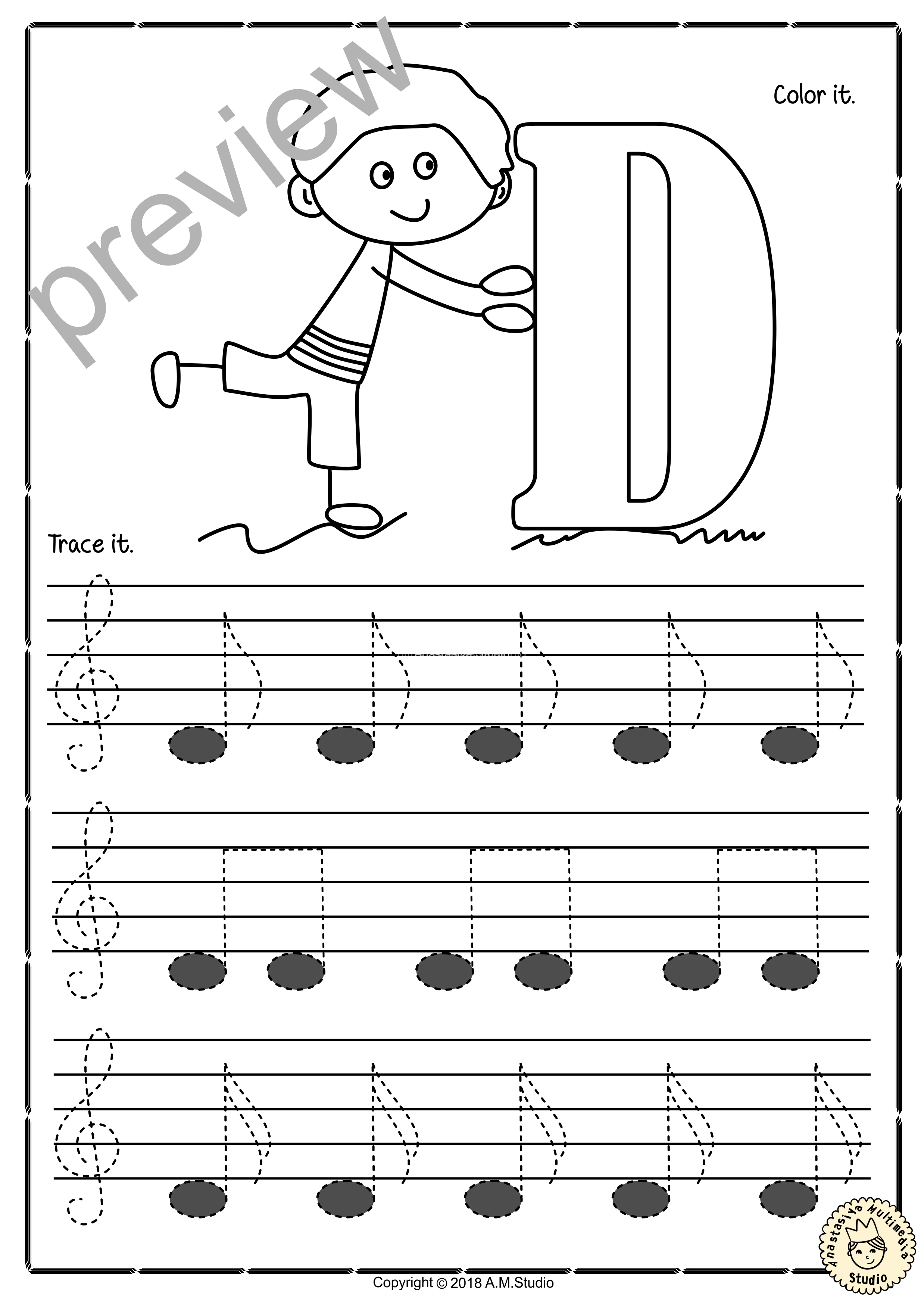 Tracing Music Notes Worksheets For Kids Treble Clef 5
