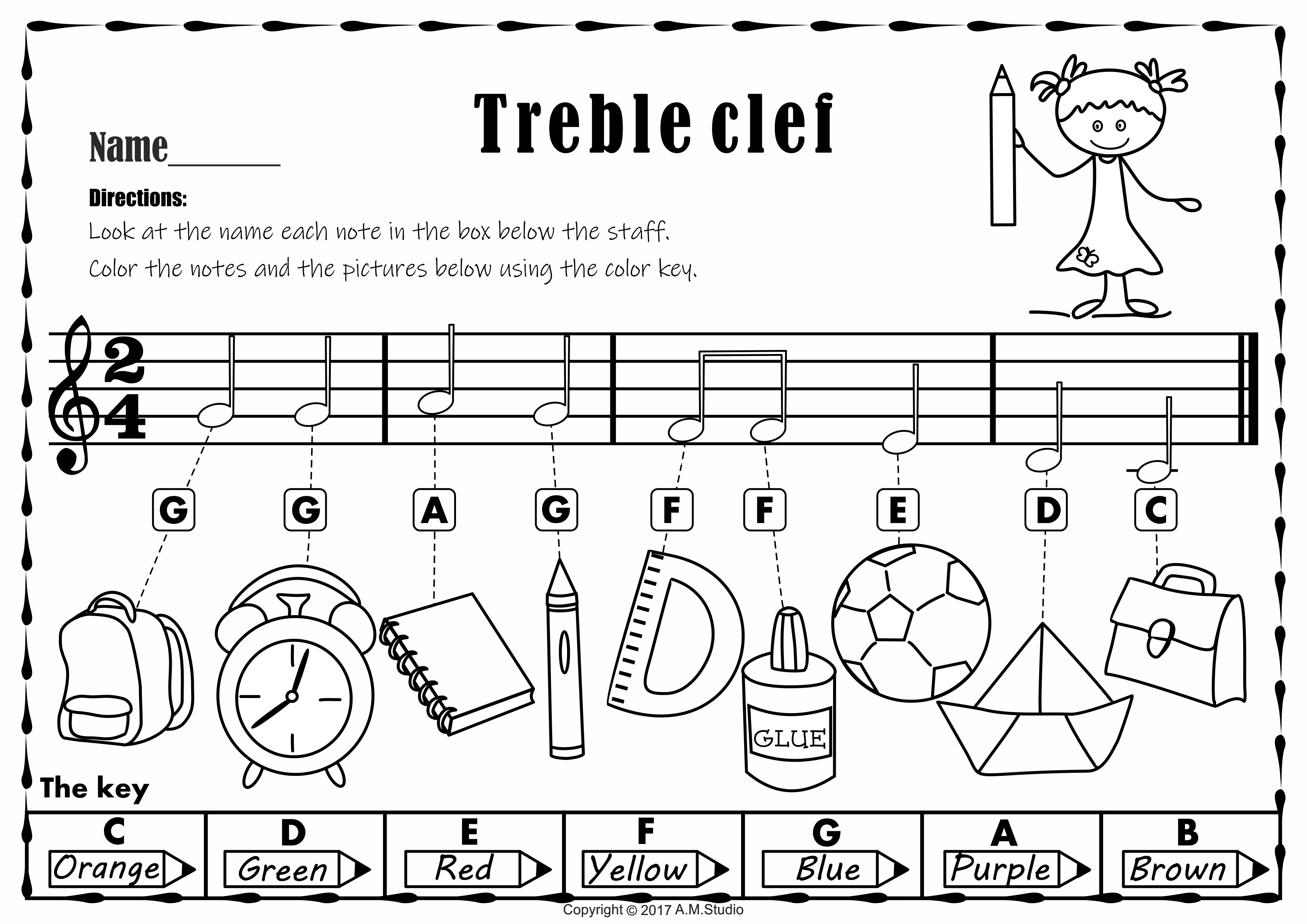 Back To School Treble Clef Note Naming Practice Worksheets