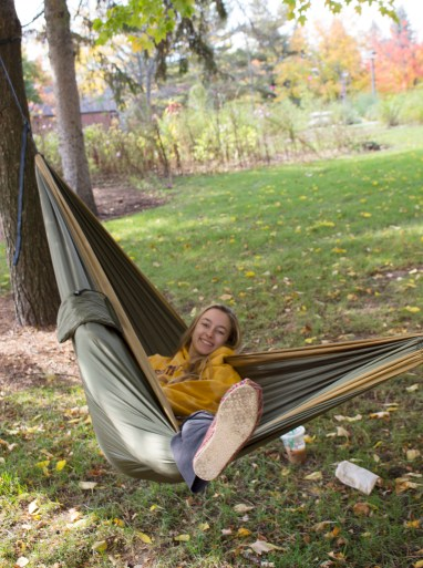 A Central Michigan University student enjoys the nice weather in her hammock, on the campus of Central Michigan University in Mt. Pleasant, Michigan October 18th, 2016
