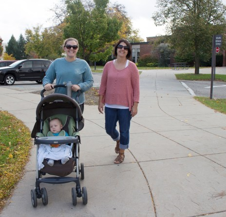 Two Mt. Pleasant residents enjoy a walk by Fabiano Botanical Gardens on the campus of Central Michigan University, Mt. Pleasant, Michigan. October 18, 2016