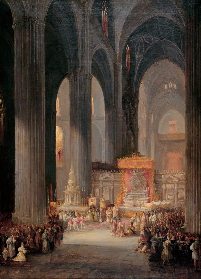 Genaro_Pérez_Villaamil_-_The_Corpus_Christi_Procession_inside_Seville_Catedral_-_Google_Art_Project