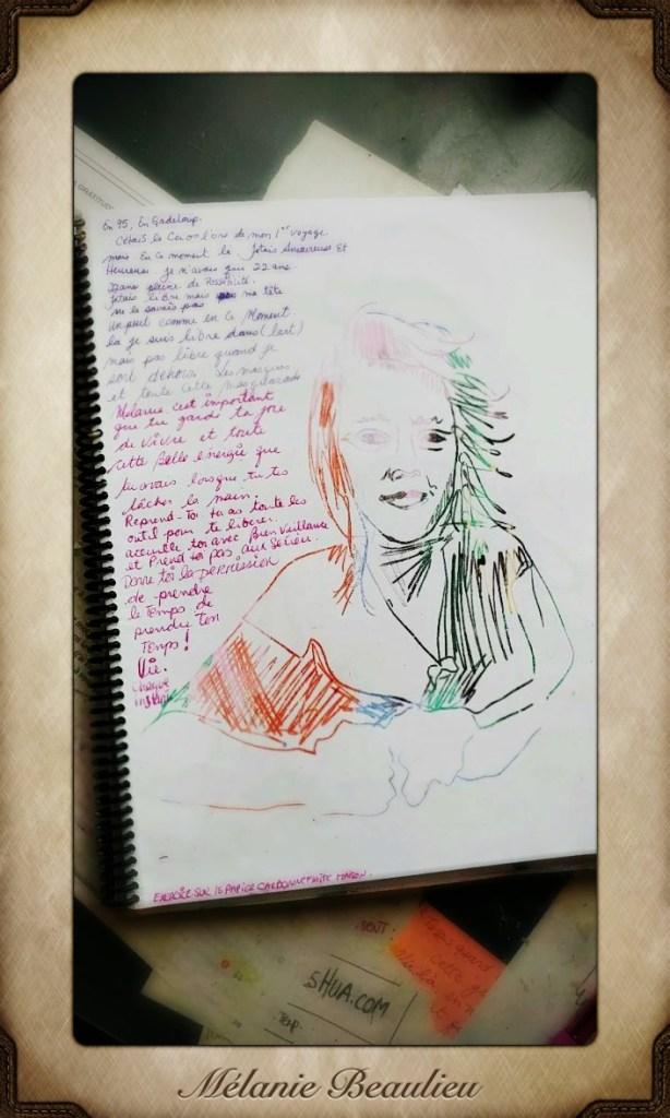 Une page du journal créatif de Mélanie Beaulieu. Portrait.