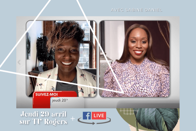 Capture d'écran de l'interview de Sabine Daniel avec Anathalie Jean-Charles à l'émission Suivez-moi sur les ondes de Tv Rogers Ottawa.