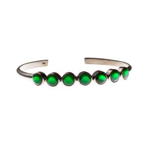 e5399290ed54b Bracelete chacras colours em prata com banho de ródio negro e ágatas verdes
