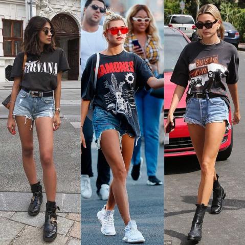 Blusa de rock com shorts jeans