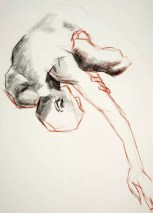 Drawing of a male nude in foetal position with arm streched