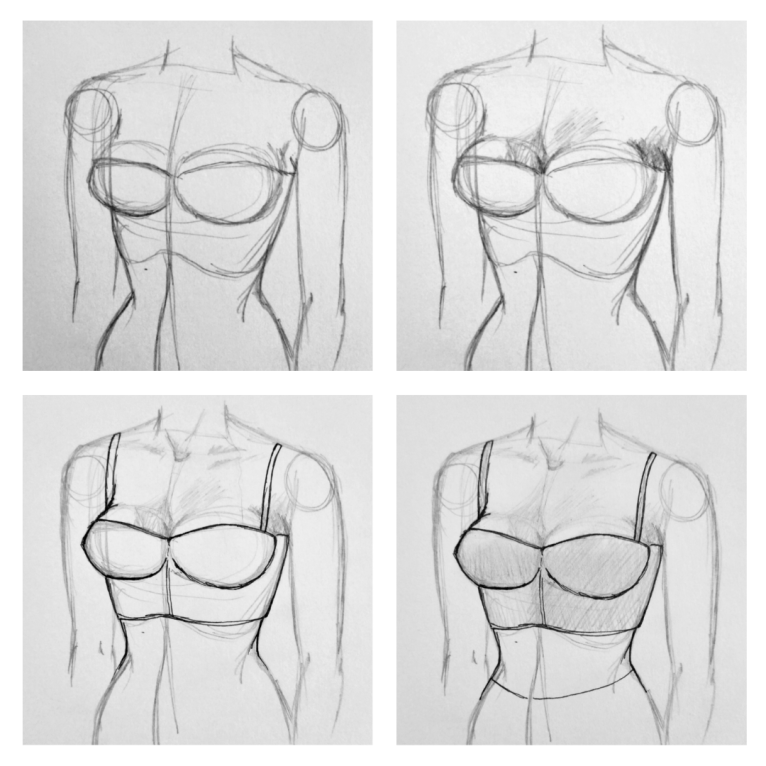 How to Draw Breasts in a Bra