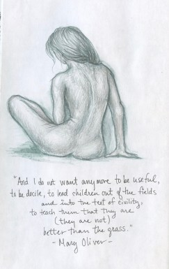 Woman's back & Mary Oliver quote, black sketchbook, 2016