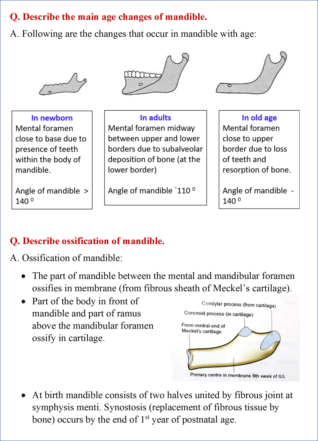 Age changes and ossification of mandible