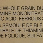 ingredient listing on whole wheat pasta, including added vitamins