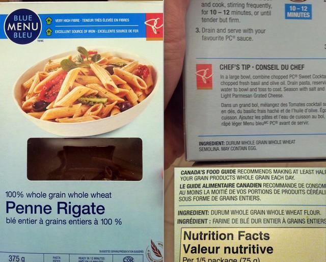 President's Choice Blue Menu Whole Grain Wheat Pasta ingredients