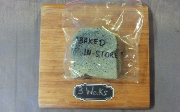 "Baked ""in-store"" bread after three weeks in a plastic bag. Part of the Great Bread Experiment."