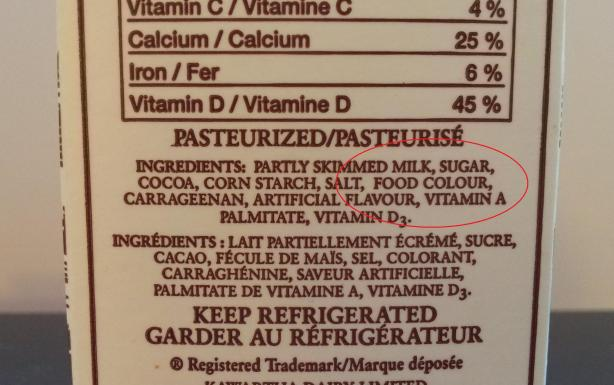 Ingredients list on Kawartha Dairy chocolate milk