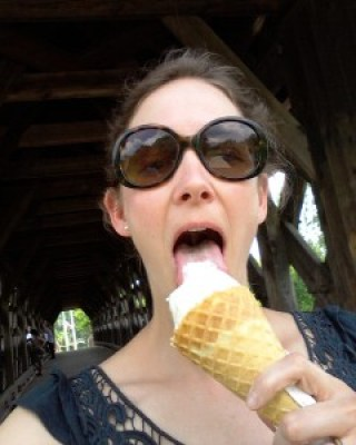 Eating an ice cream cone
