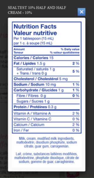 Ingredients in Sealtest 10% half and half cream