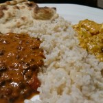Indian curry with brown rice and whole wheat roti