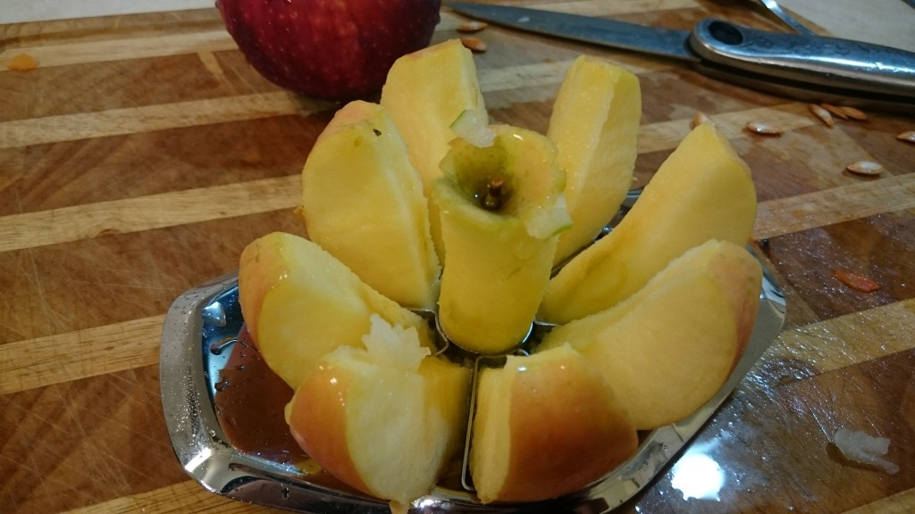 An apple sliced and cored