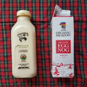 Harmony and organic meadows egg nog bottles