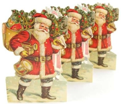 Santa with toys folding paper frieze from sweden - vintage-ornaments 1
