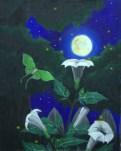 """Moonflowers""; acrylic on canvas, 16"" x 20"""