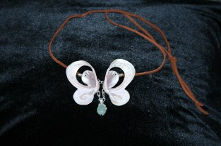 butterfly necklace; mother of pearl