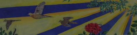 """Morning Doves""; acrylic on wood, 40"" x 10.5"""